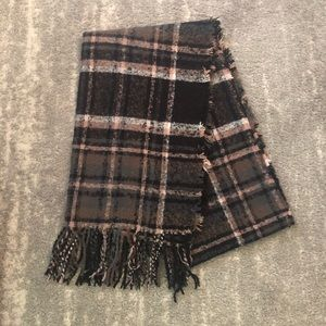 Steve Madden Pink and Grey Plaid Scarf